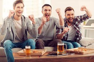 Enjoy a beer and pizza  with mates inside your man cave!